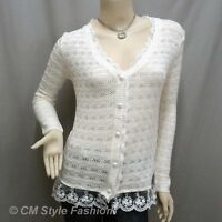 Crochet Eyelet Lace Trimmed Button Down Knit Cardigan Blouse Top Beige M