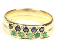 ♦♦ 14kt 585 Damen Gold Ring Gelbgold Smaragdring Saphirring Smaragd Saphir Safir