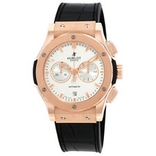 Hublot Classic Fusion Silver Dial Black Leather Band 18 Carat Rose Gold Case