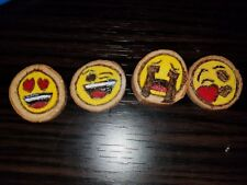 4 Woodburned Emoji Magnets Handmade USA Cute!!! Hot Item! Crying Blow kiss Wink