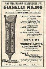 Y2661 Tubetti latte condensato GIANELLI MAJNO - Pubblicità del 1922 - Old advert