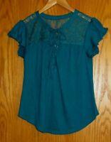 NOBO No Boundaries Women's Jr. Medium 7-9 Teal short sleeve shirt lace shoulders