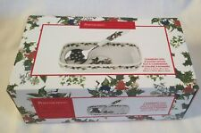 Portmeirion The Holly and Ivy Cranberry Dish & Slotted Spoon NEW & BOXED