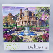 """Big Ben 750 Pc Jigsaw Puzzle Victorian Mansion Grounds MB SpinMaster 27""""x20"""" NEW"""