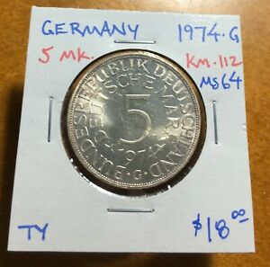 #3518 West Germany 1974-G 5 Mark, KM-112, Select Uncirculated
