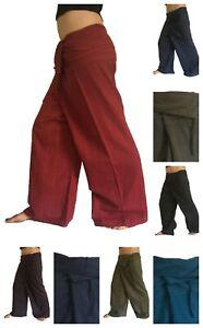 100% Cotton Striped Thai Massage Trousers Pants Wrap Around Fisherman Unisex