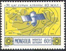 """Mongolie 1976 Météo/Météorologie/Espace/""""MOLNIYA """"SATELLITE/cartes 1 V (n11685)"""