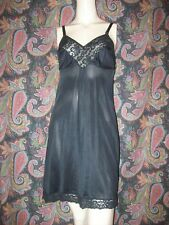 Vintage Opalaire Black Silky Nylon Tricot Lacy Empire Slip Nighty Lingerie 36
