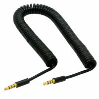 4 Pole 3.5mm Male to 4 Pole 3.5mm Male Extension Aux Audio Coiled Spiral Cable