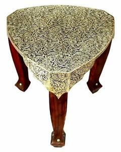 3 Leg Triangle Handcrafted Wooden Stool Cum Side Table with Brass Work Furniture