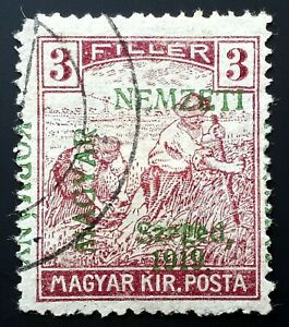Hungary ERROR stamp French occup.1919 SZEGED ovpt. (Mi.27) - USED- SIGNED BODOR