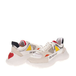 RRP €225 LOVE MOSCHINO Leather Sneakers EU 35 UK 2 US 5 Mesh Heart Colour Block