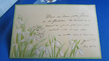 cpa illustrateur fleurs blanches gaufree