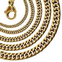 Halskette Panzerkette Königskette Golden Edelstahl Collier Herren Gliederkette