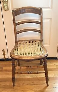 ANTIQUE EASTLAKE CARVED VICTORIAN FARMHOUSE CANE SEAT DINING SIDE CHAIR