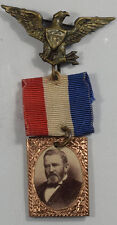 "GRANT ALBUMEN SUSPENDED ON SILK RIBBON W/ EAGLE PINBACK, 1 5/8"" X 2 5/8"" - EXC!"