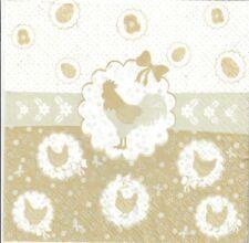4 Single paper decoupage napkins. Easter design,chick, eggs, pastel colors - E35