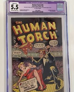 Human Torch 29 CGC 5.5 R OW-W Rare!!! Marvel/Timely
