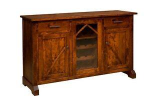 """Amish Transitional Sideboard Buffet Wine Cabinet Solid Wood Bostonian 60"""""""