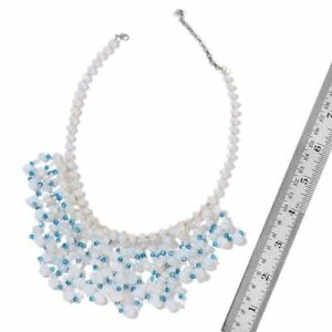 """A6R new Simulated Opalite & Blue Diamond statement Necklace Size 18"""" Silver Tone"""