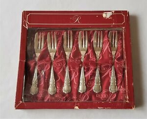 SET OF SIX VINTAGE C1970'S RODD SILVERPLATED DESSERT FORKS - LIKE NEW IN BOX
