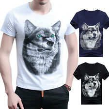 Fashion Men Cotton 3D T-shirt Funny Wolf Printed T-shirts Short Sleeves Tops