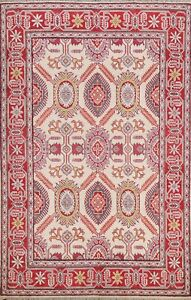 Vegetable Dye Geometric Super Kazak Oriental Area Rug Hand-knotted IVORY 5'x7'