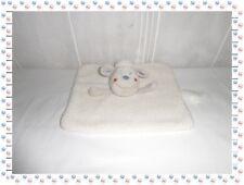 ♫ - Doudou Semi Plat Carré Mouton Blanc Gris Fourrure Bouclette  Kimbaloo