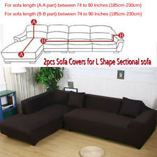 2pcs Sofa Covers Polyester Fabric Stretch Slipcovers for L Sectional sofa Brown