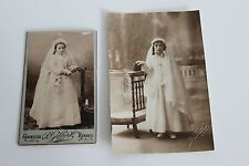 2 photos anciennes Communiantes  Missel Chapelets Costumes Collection Religion