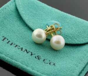 Tiffany & Co. 18K Yellow Gold White Akoya 7.5mm Pearl Stud Earrings