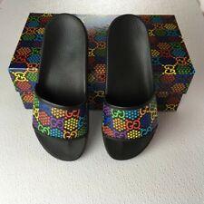 Gucci Man Sandals Supr GG Star Logo Leather Sport Size 10 Black Multicolor DM16