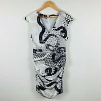 Lisa Ho Womens Dress Size 12 Silk Black White Abstract Design Good Condition