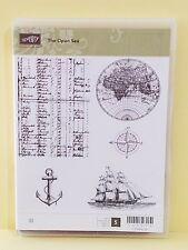 RETIRED Stampin Up The Open Sea set Ship World Map Masculine craft scrapbook