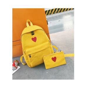 UK Womens Cute Heart Canvas Backpack Backpack Girl School Bag Teenagers Backpack