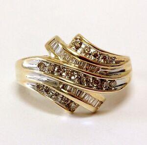 10k yellow gold .53ct SI2 K-L women's diamond cluster ring 4.7g estate vintage