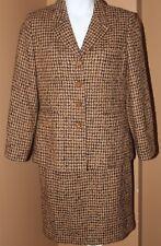 BILL BLASS Tan Brown Black Tweed Plaid Wool Blend Skirt Suit 12