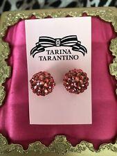 Tarina Tarantino Vintage Coral Pink Lucite Swarovski Crystal Ball Earrings