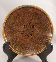 """Vintage Chinese Red Cloisonne Dish Saucer Plate Enamel Flowers China 4"""""""