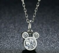 """14k White Gold Over Round Diamond 2.25Ct Mickey Mouse Pendant 18""""Chain Necklace"""