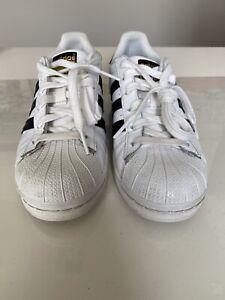 Adidas Originals Superstar Sneakers Women's Size 6 White w/Black stripe PreOwned