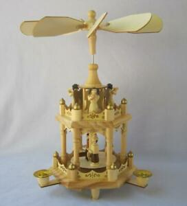 THE NATIVITY CHRISTMAS PYRAMID Carousel with three candles 2 tier