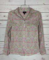 J.Crew Liberty Art Fabrics Women's Size 0 White Pink Floral Top Blouse Shirt