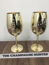2 x Moët & Chandon Gold Glass Champagne Flutes Goblets Glasses Moet
