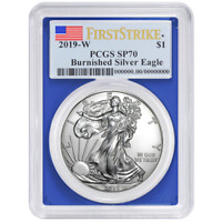 2019-W Burnished $1 American Silver Eagle PCGS SP70 FS Flag Label Blue Frame