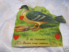 Antique  Valentine's Day Valentine Greetings Card Germany Mechanical Bird Easel