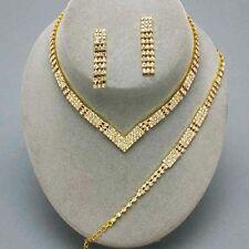 Parure de 3 bijoux collier bracelet boucles d'oreilles cristal clair mariage