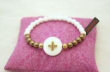 Bracciale Vanto Gioielli argento 925 rosé con agata bianca, perle bronzo e croce