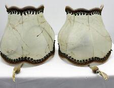 2 St Alte Vintage Retro Wandlampen aus Schweineleder Lampe Beige Grün Brokat