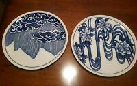 VANDOR Nancy Getz Designer Japan Blue White Plates Floral Clouds Rain Japanese